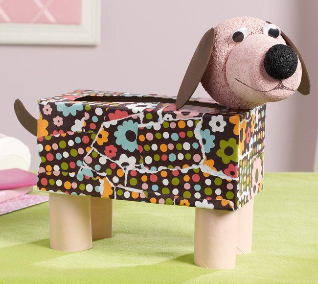 Mod Podge Kid's Tissue Dog - made from a Kleenex box