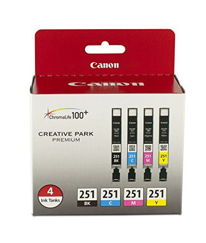BUY NOW The Canon CLI-251 BK/CMY 4 Value Pack Ink for Canon InkJet Printers provides great ink savings. The pack includes CMY ink colors Black, Cyan, Magenta, and Yellow. The combination of inks and media deliver exceptional beauty and longevity. Plus the inks dry instantly so your photos are ready to be enjoyed as soon as they come out of the printer. BUY NOW $36.99 BUY NOW