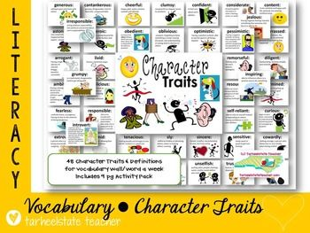 Perfect for scaffolding students' ability to describe characters and internalize new vocab! Easily teach new character traits--the definitions are right there!! 48 character trait definition cards w colorful clip art, classroom displays for each word , mini definition cards for students. Many students lack vocab needed to be able to adequately DESCRIBE CHARACTERS. guided reading, whole group, word a week, bulletin boards, independent reading, lit stations tarheelstateteacher.com
