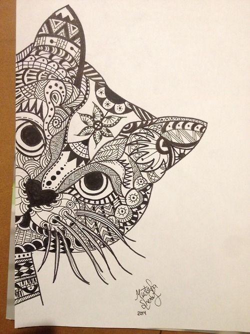 Zentangle cat   ...Zentangle Birds Designs