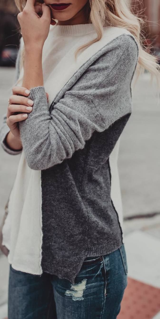 #winter #outfits grey sweater jeans