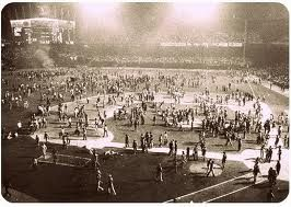 July 12 - A Disco Demolition Night publicity stunt goes awry at Comiskey Park, forcing the Chicago White Sox to forfeit their game against the Detroit Tigers.
