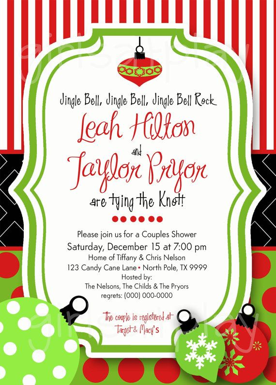 Christmas Bridal Shower Invitation Holiday Open by girlsatplay, $12.00