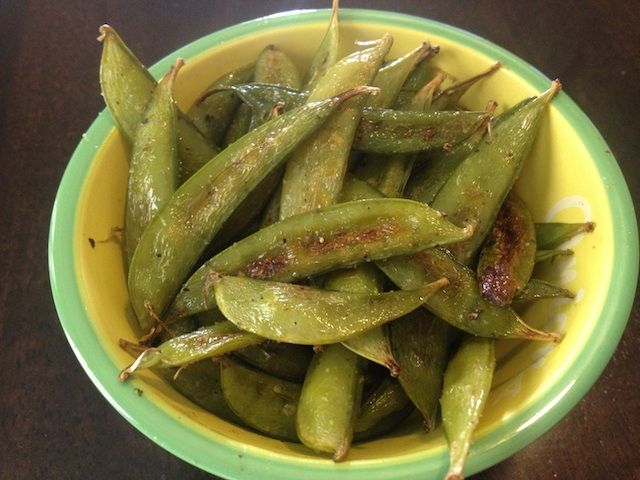 Baked sugar snap peas instead of chips. I've got them in the oven right now, I can't wait to try!