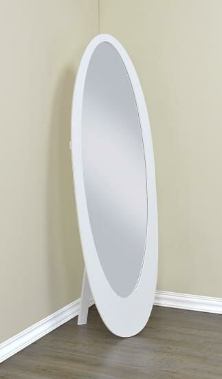 Cheryl collection long tall oval shaped bedroom white for Free standing bedroom mirrors