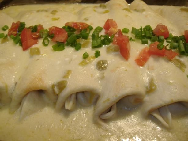 White Sauce Steak Enchilada's....the sauce is light & creamy!