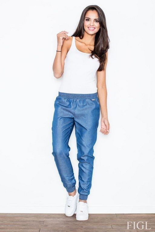 Stylowe luźne spodnie damskie ze ściągaczami na kostkach