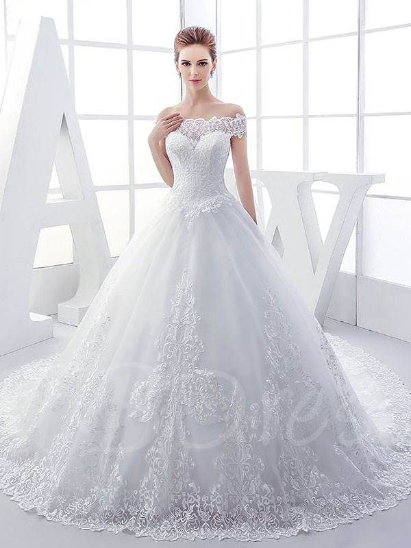 060b92080f32 Off The Shoulder Lace Appliques Ball Gown Wedding Dress | Wedding ...