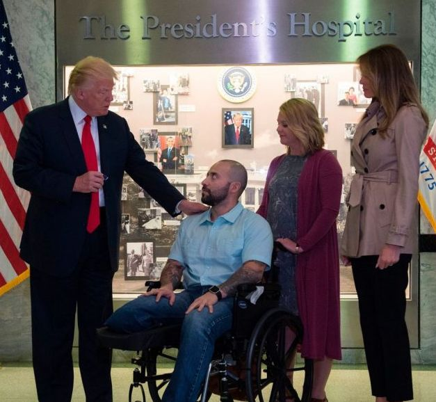 President Trump Awards Purple Heart to Wounded Army Sergeant Who Lost Leg in Afghanistan