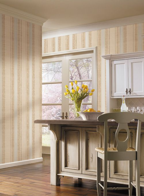 York stripe wallpaper in the kitchen k i t c h e n for Striped kitchen wallpaper