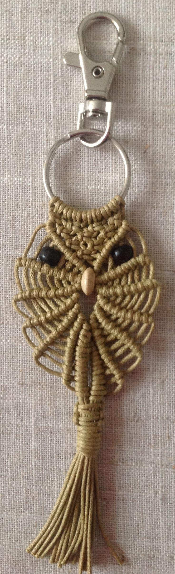 Handmade Macramé Owl Keyring / Bag Charm