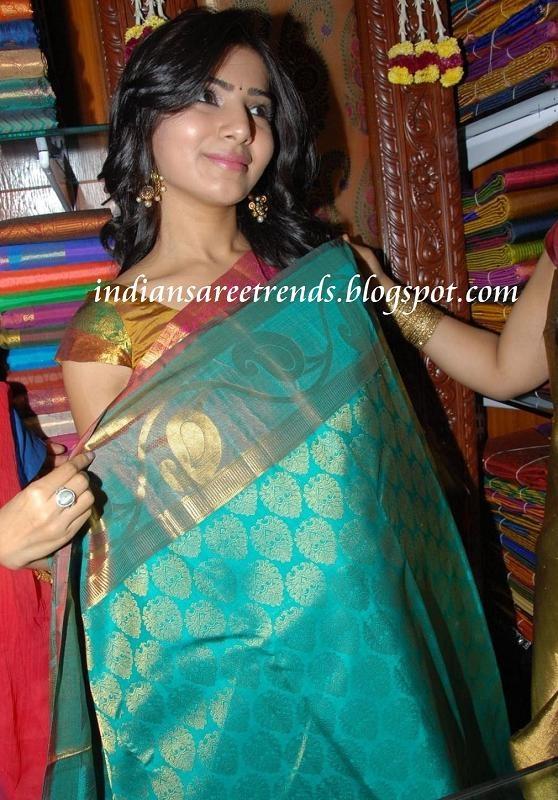 Latest Traditional and Designer Sarees: Samantha dispalying traditional blue colour kanjeevaram silk saree