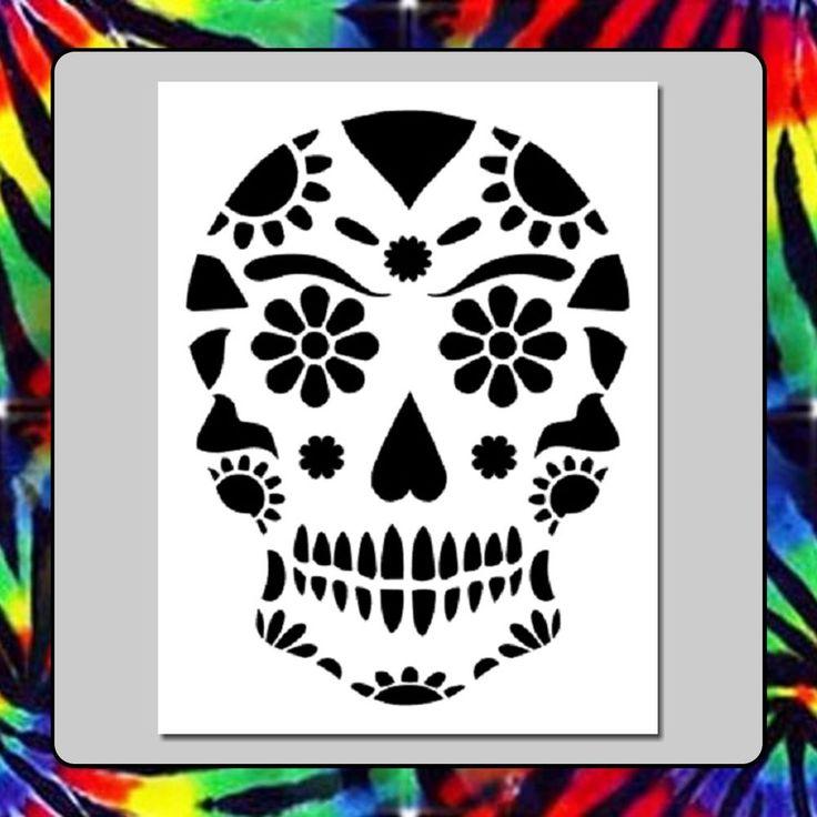 7 x 9 floral sugar skull face stencil day of the deadmexican halloween death - Mexican Halloween Skulls