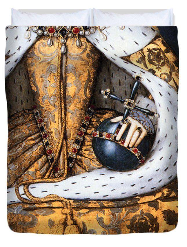 """CORONATION of TUDOR QUEEN ELIZABETH 1  1559 Queen (88"""" x 88"""") Duvet Cover"""