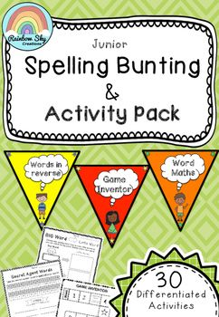 Junior Spelling Activity Bunting Pack - Years 1 and 2. Includes 30 different activities. Adaptable with any spelling list. Differentiated and colour coded for ease. ~Rainbow sky creations ~