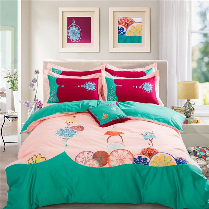 Embroidered Girls Bedspreads Sheet,4pc Bedding,100% Cotton 173x74 Luxury Green Pink Princess Duvet Bedding King