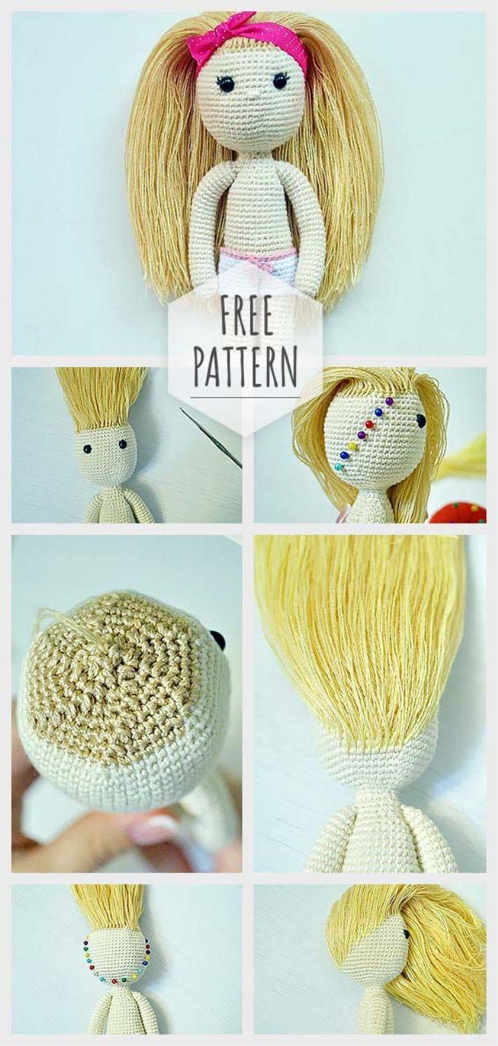How To Tie Amigurumi Doll Hair Muñecas Pinterest Croché