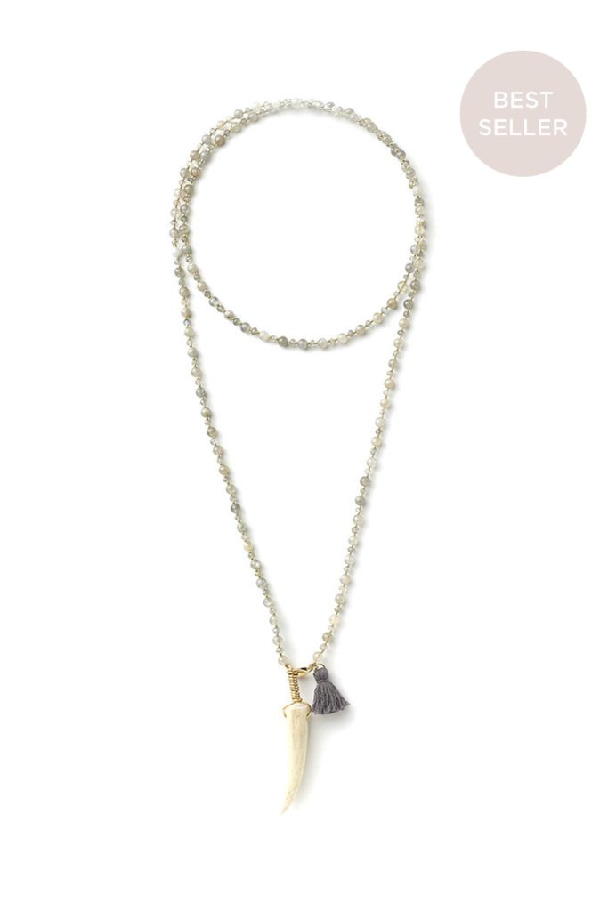 Labradorite Duet Choker Antler Tip Necklace