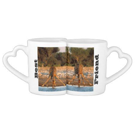 Lovers Mug Set Giraffes Put your names on the mug or leave it the way they are.On this cup set you have the black text saying best friends and a photo of two tall Giraffes drinking water together from a river. With a trees in the back ground. You can change the Giraffes for your own photo as well....