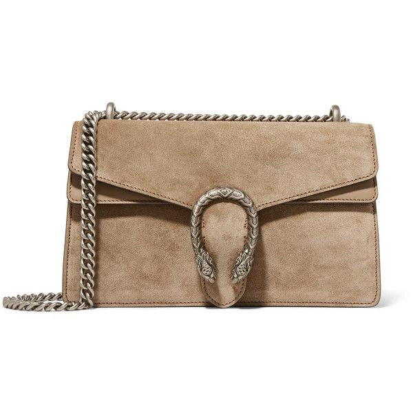 Gucci Dionysus small leather-trimmed suede shoulder bag (£1,540) ❤ liked on Polyvore featuring bags, handbags, shoulder bags, mushroom, crossbody shoulder bag, brown cross body purse, brown shoulder bag, gucci handbags and shoulder handbags