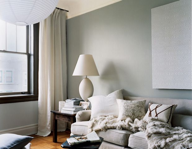 """our favorite living room paint colors When it comes to making decorating decisions, all eyes are on the walls.  soft and sophisticated Not feeling beige? That's okay. Opt for a warmer color that we like to call """"greige.""""   Paint color (walls): """"Forde abbey"""" by Ralph Lauren Paint   Paint color (window trim): """"Warwick lodge"""" by Ralph Lauren Paint  Paint color (ceiling): """"Edwardian linen"""" by Ralph Lauren Paint"""