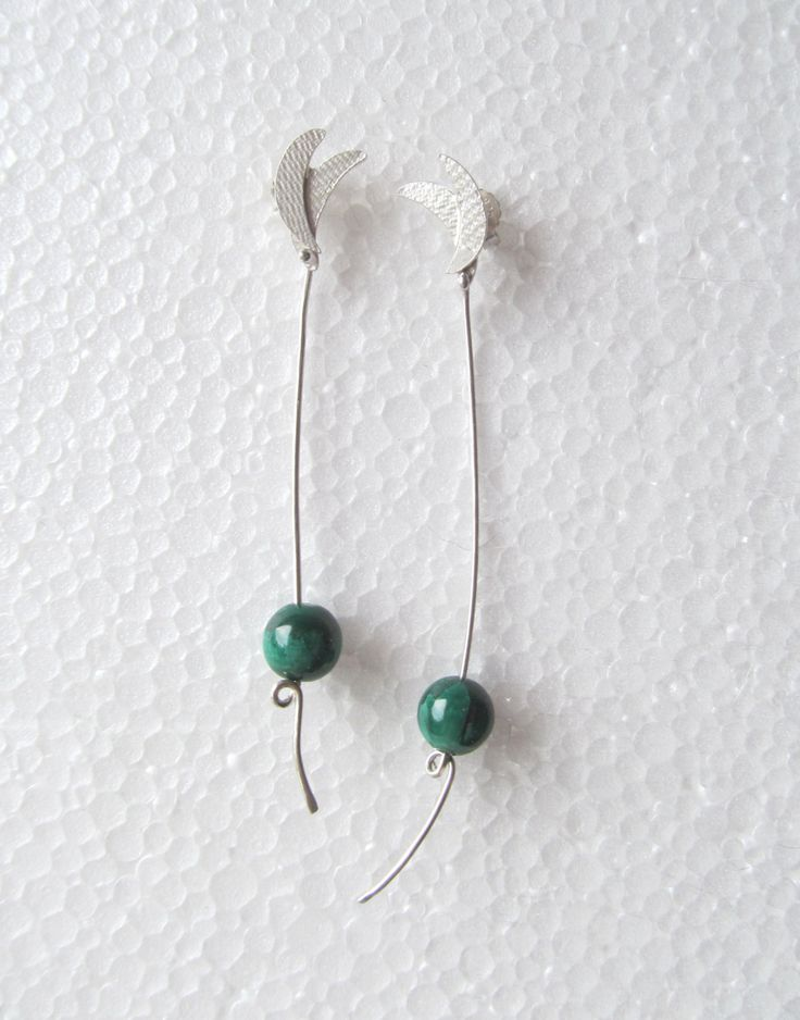 Sterling Silver Earring - Dark Green Malachite Earring - Natural Stone Jewelry - cute earrings - Healing Crystals and Stones by JorArtJewelry on Etsy