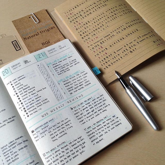 My weekends journaling, bullet journal with weekly review and one plain-writing…