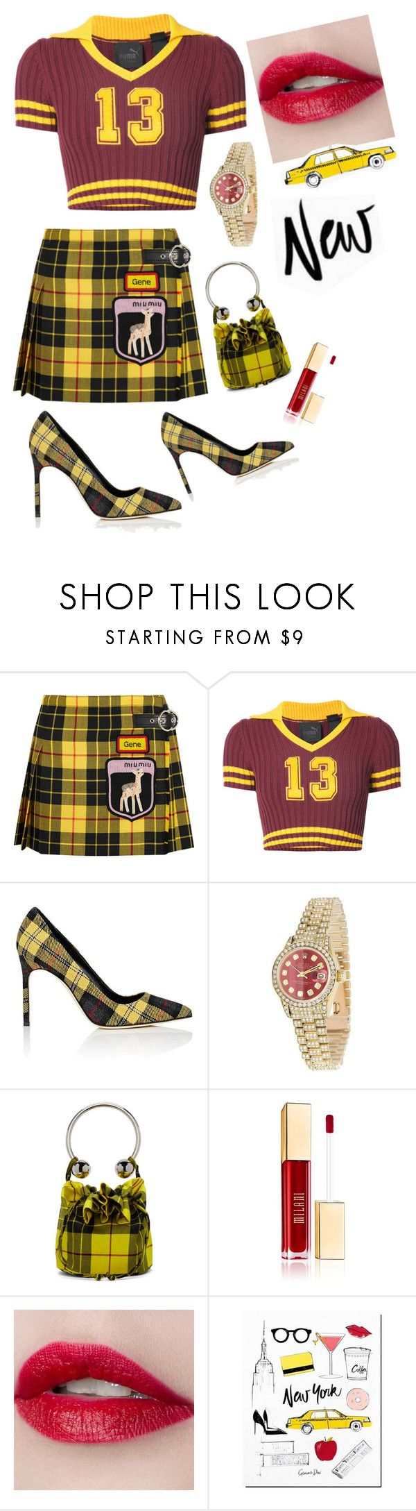 """""""Red and yellow"""" by heidihansen0505 on Polyvore featuring Miu Miu, Puma, Manolo Blahnik, Rolex and Ashley Williams"""