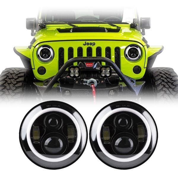 Popular  inch Round Black Color Halo LED Headlights Pair Jeep Wrangler