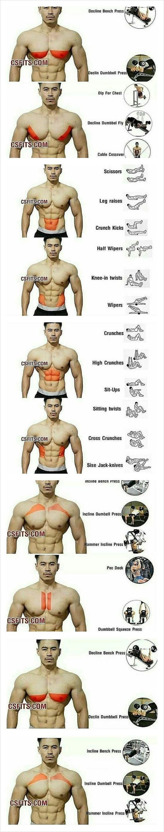 Exercises for every part of your chest. Try today to hit