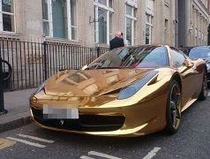 Kickboxer Riyadh Al-Azzawi Gold-covered Ferrari supercar