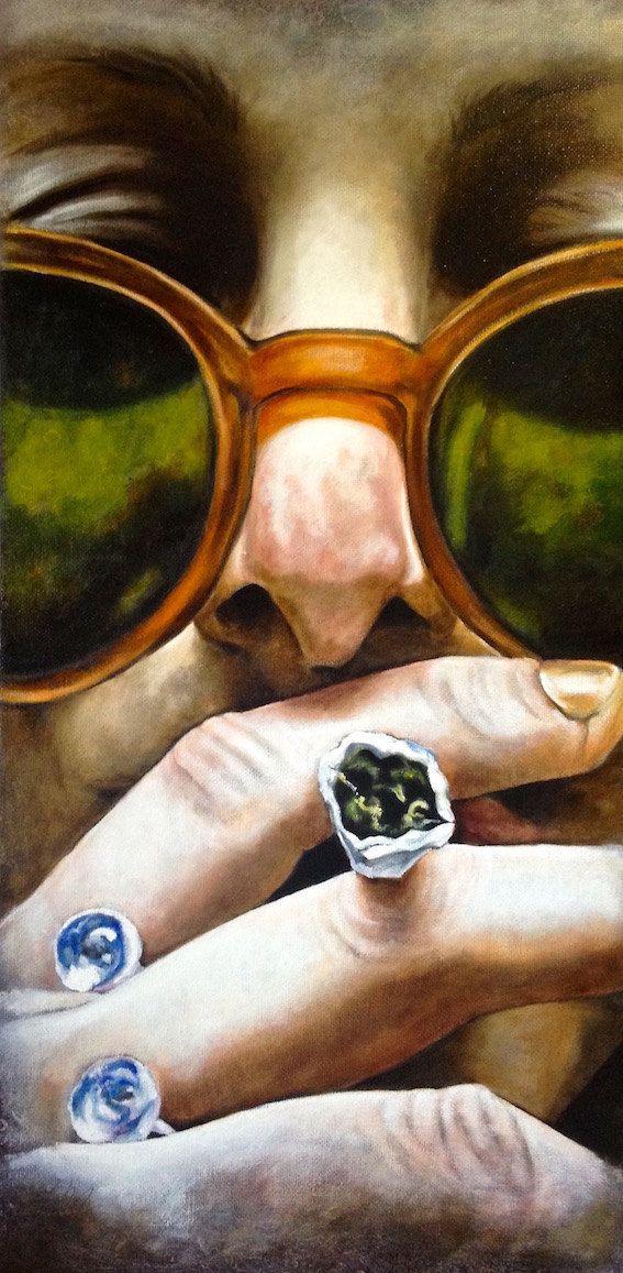 Stampa tipo poster in formato 50 x 100 cm dellopera Cannabis tecnica mista su tela di Monica Spicciani. Lopera originale è della stessa misura