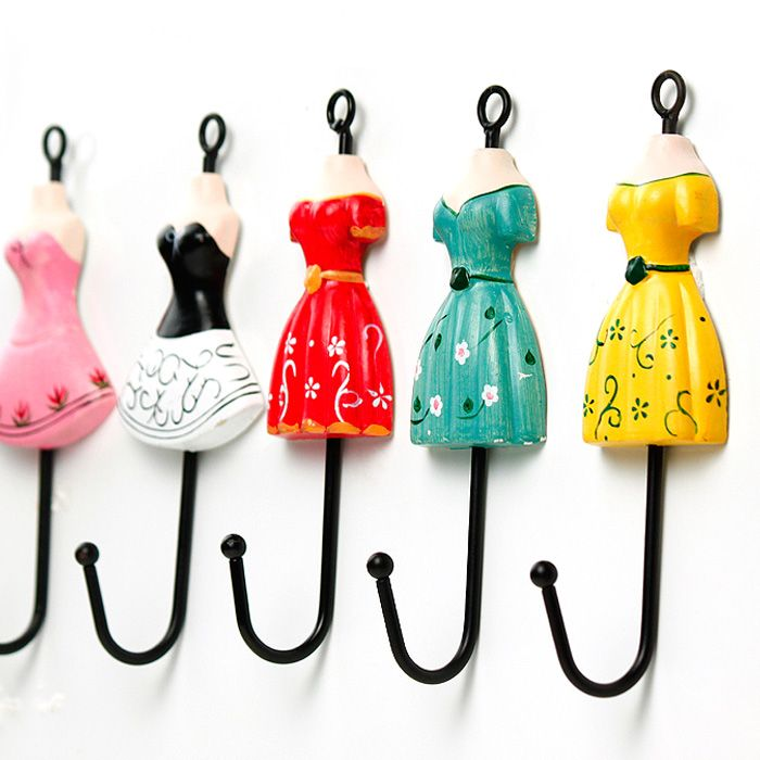 Accessories, Rustic Wooden Decoration Princess Front Clothing Skirt Vintage Coat Hooks Single Hook Colorful Pink Black White Red Green And Y...