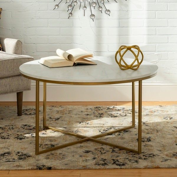 Silver Orchid Helbling 36 Inch Round Coffee Table Gold Metal X