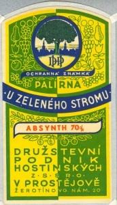 Absinthe label, Czechoslovakia