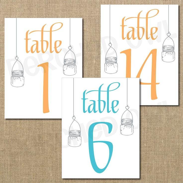 Hanging Mason Jar Wedding Reception Table Numbers DIY. $20.00, via Etsy.