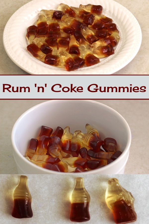 Rum 'n' Coke Gummies. So easy to make, and a nice twist on Vodka Gummy Bears. http://mixthatdrink.com/rum-n-coke-gummies/
