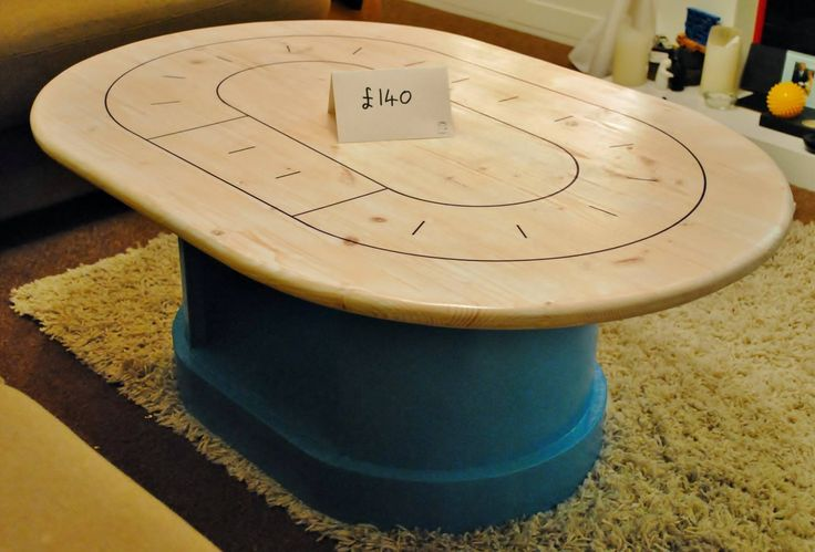 Roller derby track inspired coffee table. Great for team tactics training or drinking games. £140
