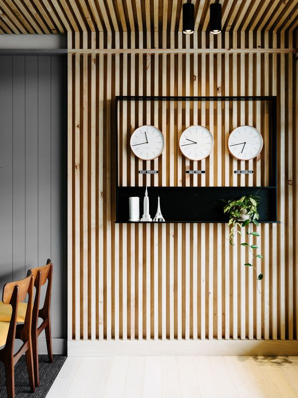 east ivanhoe travel cruise travel agency interior by david flack of flack studio - Wood Wall Design Ideas