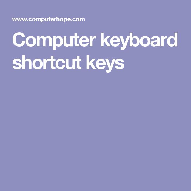 Computer keyboard shortcut keys