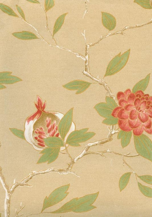 Manchu Wallpaper Wallpaper depicting terracotta and gold birds the trees outlined in gold and on a beige background, the paper has an iridescent finish.