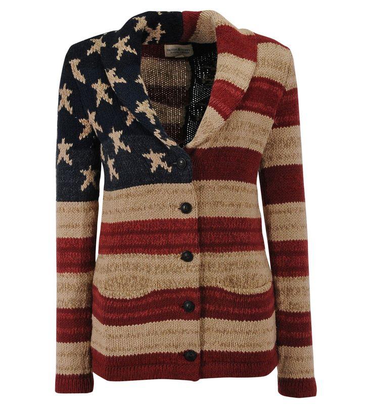 Gilet lourd grosse maille col châle drapeau US