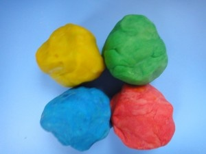 """Made a double batch of this w my 6, 3 & 2 year old. They added yellow and red coloring and divided it 3 ways. Less than 5 minutes and now they are playing happily together w their lavender scented dough.  I was just offered """"spaghetti & meatballs"""". Best Play Dough recipe -http://www.healthymamainfo.com"""