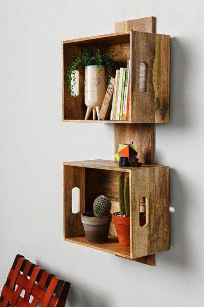 etagere en palette de bois pot en rouge cactus