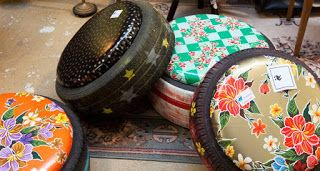 Fabriquer un PNOUF (1 pneu recyclé = un pouf ) avec Les Robins des Bordes à Chennevieres sur Marne