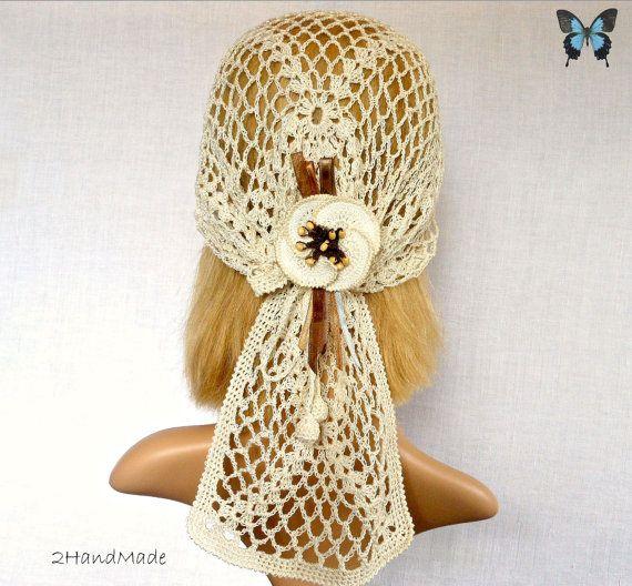 Woman Lace Crochet Vintage Beige Ivory Headband by 2HandMade