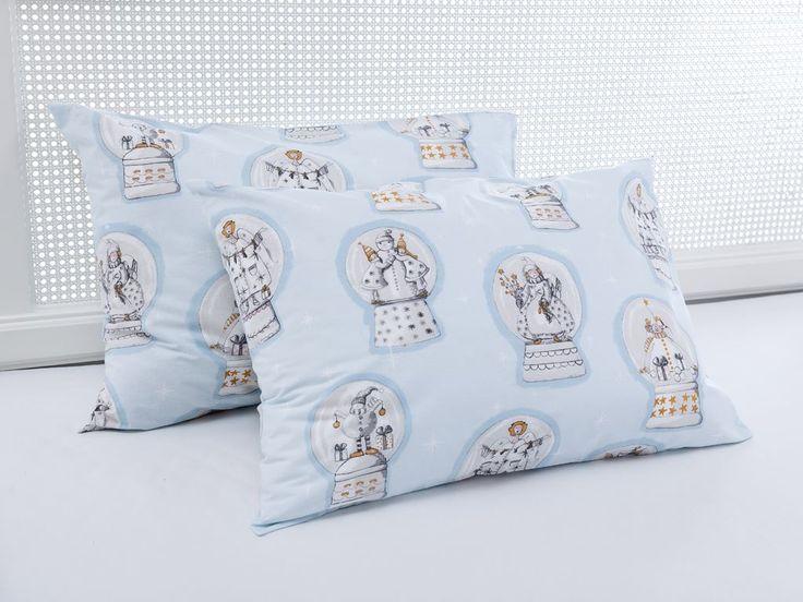 Snowglobe Pamuklu İkili Yastık Kılıfı 50x70 Mavi