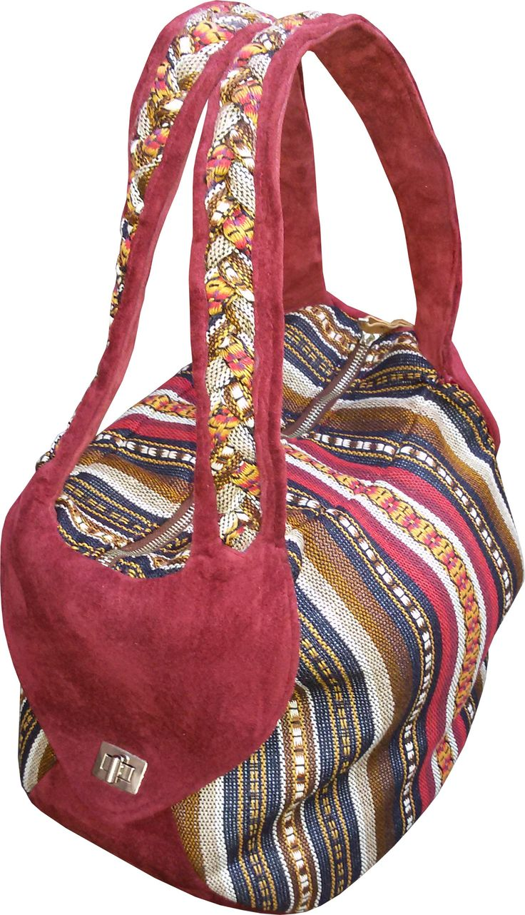 KADAIF, Shoulder bag from polyester jacquard and suede.