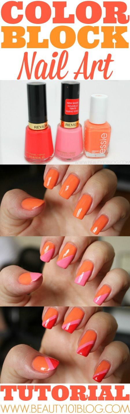 We are loving this color block nail art! Check out beauty101blog.com for more amazing nail DIY! Visit Walgreens.com to get all of the colors that Casey used.