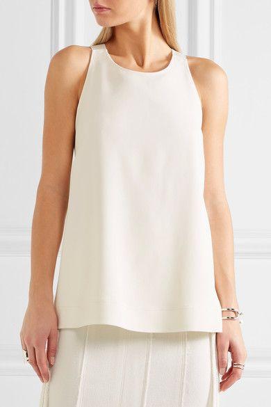 White crepe Slips on 98% viscose, 2% elastane; lining: 100% cotton Dry clean Designer color: Bone
